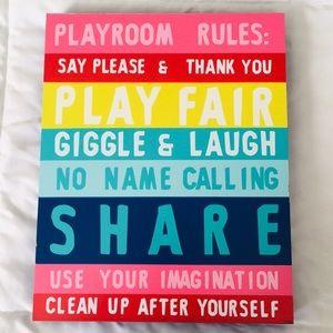 Playroom rules wall decor sign rainbow colors